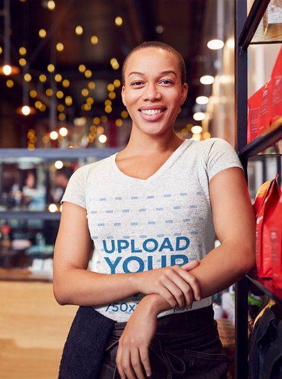 V-Neck T-Shirt Mockup of a Female Worker Posing 40893-r-el2