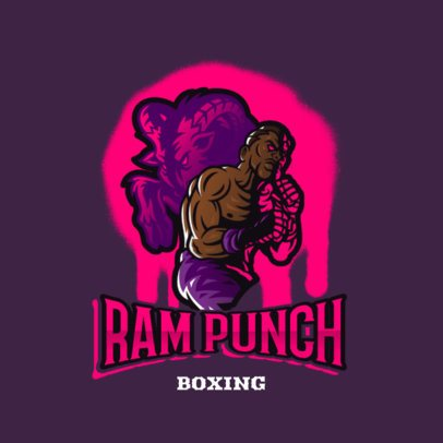 Illustrated Logo Generator Featuring a Male Boxer and a Goat Shadow 3586a