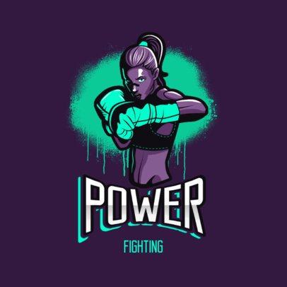 Cool Logo Template Featuring a Female Boxer Illustration 3586e