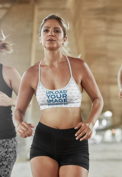 Sports Bra Mockup Featuring a Woman Running 35108-r-el2