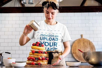 T-Shirt Mockup Featuring a Baker Sprinkling a Cake 39537-r-el2
