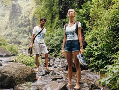 T-Shirt Mockup of a Man and a Woman on a Hike 42050-r-el2