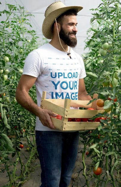 T-Shirt Mockup Featuring a Bearded Farmer 40627-r-el2