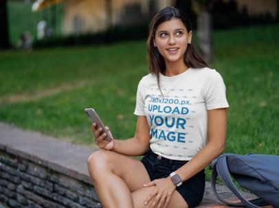 T-Shirt Mockup Featuring a Female College Student 40823-r-el2