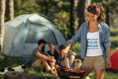 Tank Top Mockup of a Woman Grilling Some Food 42092-r-el2