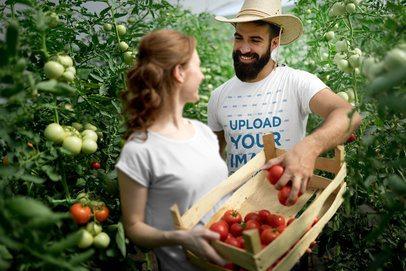 Mockup Featuring a Farmer Wearing a Customizable T-Shirt 40625-r-el2