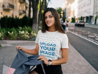 T-Shirt Mockup of a Woman Checking Her Backpack 40891-r-el2