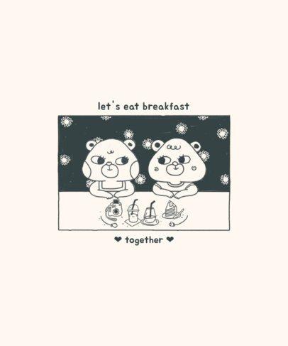 Sweet Animals T-Shirt Design Creator Featuring a Breakfast Scene 2600d