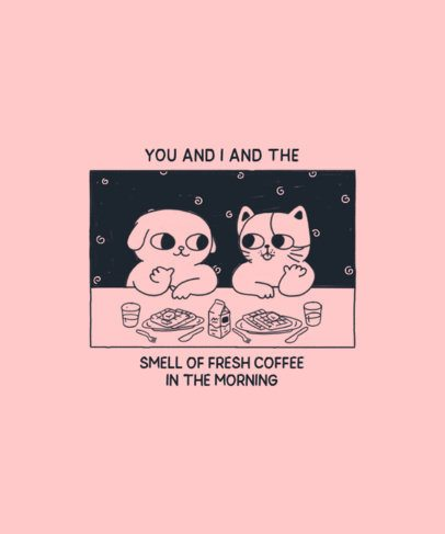 T-Shirt Design Maker Featuring Two Animals Having Fun at Breakfast 2600e