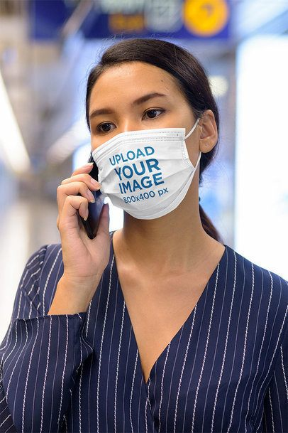 Face Mask Mockup Featuring a Young Woman on the Phone 41637-r-el2