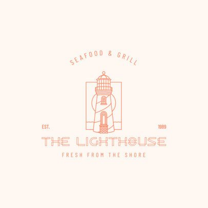 Logo Maker for a Seafood Restaurant Featuring a Lighthouse Clipart 3605j