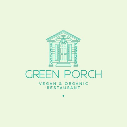 Logo Generator for a Vegan Restaurant Featuring a Front Porch Illustration 3605l