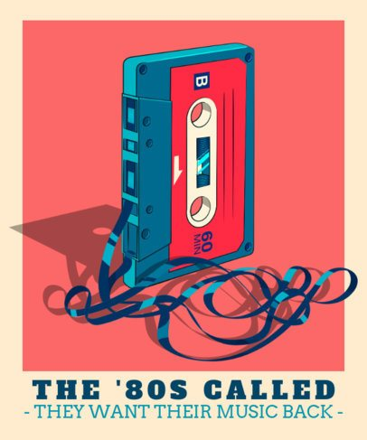 Retro T-Shirt Design Template Featuring a Cassette Clipart 2798a