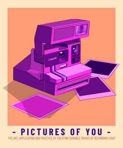 Retro T-Shirt Design Generator Featuring an Instant Camera Graphic 2798b