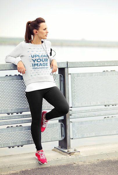 Sweatshirt Mockup Featuring a Female Runner Resting 39841-r-el2
