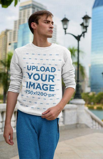 Crewneck Sweatshirt Mockup of a Serious Man Walking in the City 40065-r-el2
