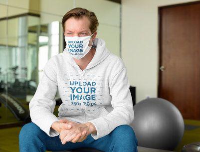 Face Mask Mockup of a Man Wearing a Full-Zip Hoodie 40034-r-el2