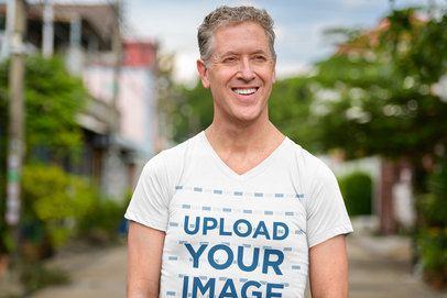 V-Neck T-Shirt Mockup of a White-Haired Man Smiling 40302-r-el2