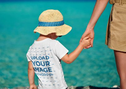 Back View Mockup of a Kid Wearing a T-Shirt on the Beach 41940-r-el2