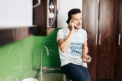 Heather T-Shirt Mockup of a Man Talking on His Phone 38807-r-el2
