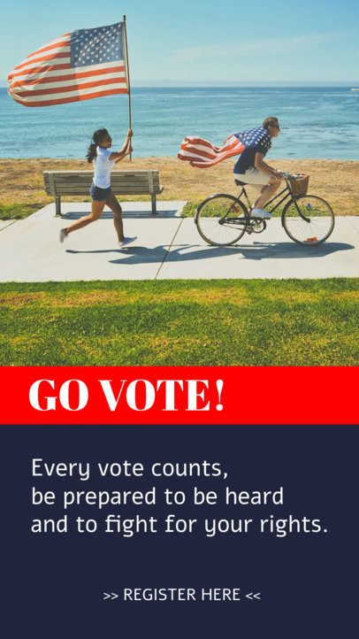 Political Instagram Story Design Template Inviting People to Vote 2876