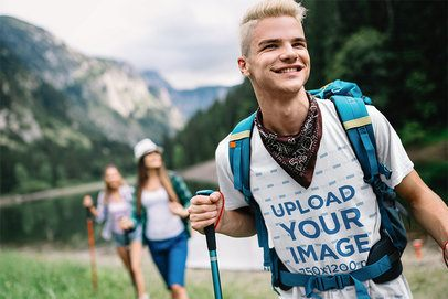 T-Shirt Mockup Featuring a Smiling Man on a Hike 42069-r-el2