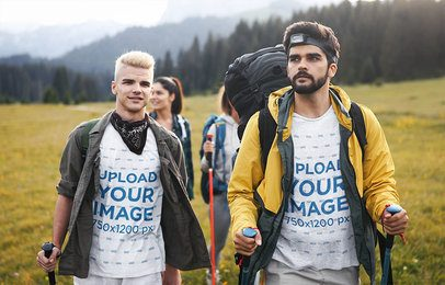 Mockup Featuring Two Friends with T-Shirts Hiking 42084-r-el2