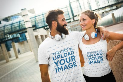 T-Shirt and Tank Top Mockup Featuring a Happy Couple 40633-r-el2