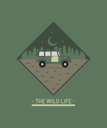 T-Shirt Design Generator Featuring an All-Terrain Vehicle Camping in a Forest 2618b-el1