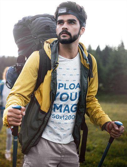 T-Shirt Mockup of a Bearded Man on a Hike 42080-r-el2