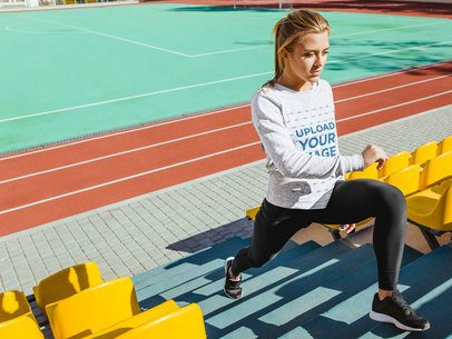 Long Sleeve Tee Mockup of a Woman Training on a Staircase 35276-r-el2