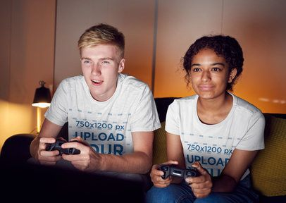 T-Shirt Mockup of a Man and a Woman Playing Video Games 35180-r-el2