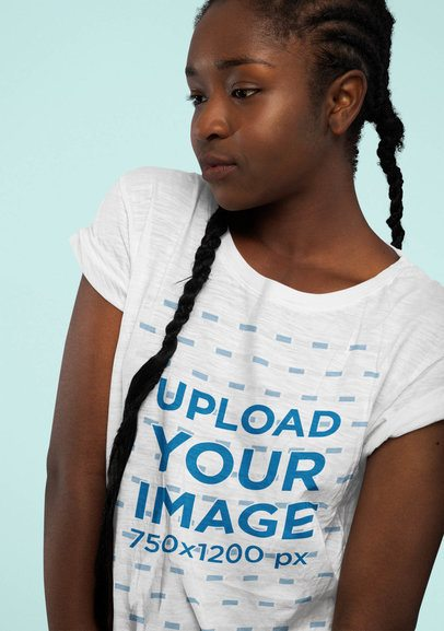 Heather T-Shirt Mockup of a Serious Woman with Long Braids 39260-r-el2