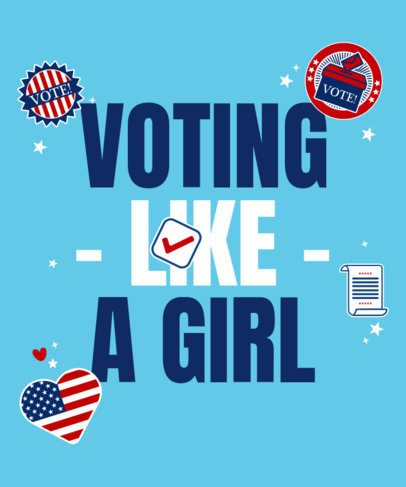 T-Shirt Design Maker for Female Voters Featuring Political-Themed Stickers 2873h