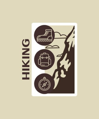 T-Shirt Design Template Featuring Hiking-Related Icons 2750c-el1