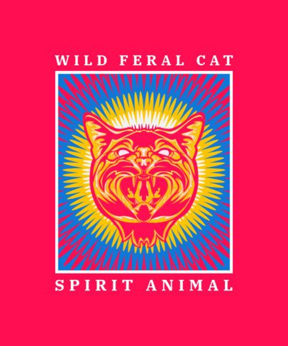 Psychedelic T-Shirt Design Creator with a Wild Cat Graphic 2715a-el1