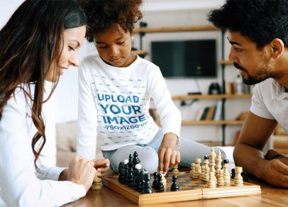 Long Sleeve Tee Mockup of a Little Girl Playing Chess with Her Parents 41883-r-el2