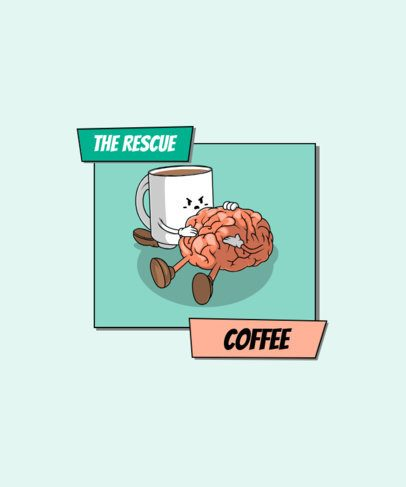 T-Shirt Design Template Featuring a Funny Coffee-Themed Vignette 2633a-el1