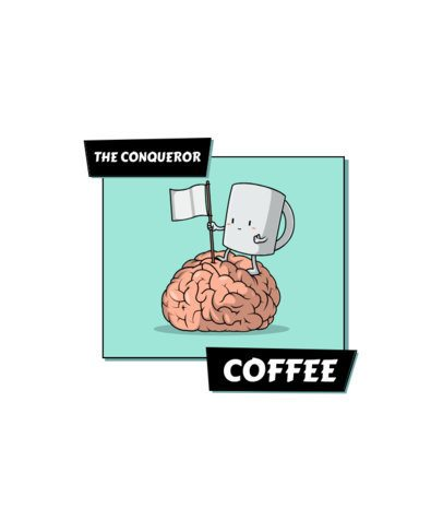 T-Shirt Design Maker with a Funny Cartoon of a Conquering Coffee Cup 2633g-el1