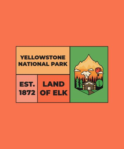 Yellowstone Commemorative T-Shirt Design Template 2616d-el1
