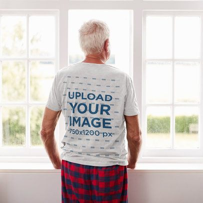 Back-View T-Shirt Mockup of a Senior Man at Home 38032-r-el2