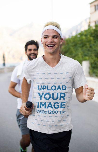 Heather V-Neck T-Shirt Mockup of a Joyful Man Running 39721-r-el2