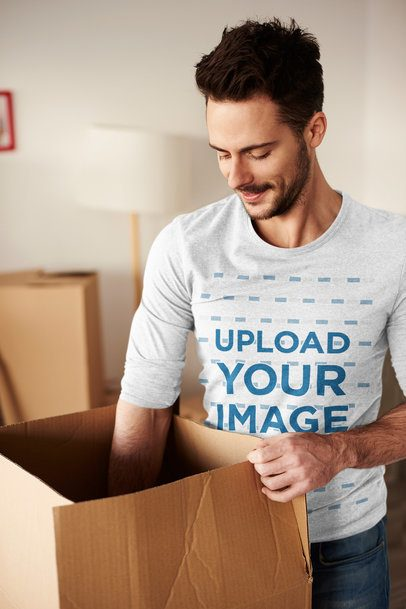 Mockup of a Man Wearing a Long Sleeve Tee While Packing 39327-r-el2