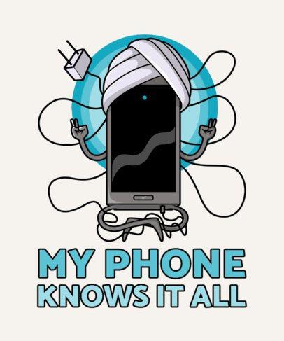 T-Shirt Design Template Featuring a Guru Smartphone Graphic 2643a-el1