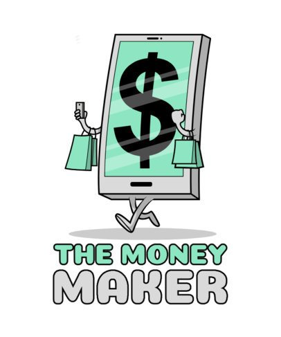 Illustrated T-Shirt Design Generator Featuring a Smartphone with a Dollar Bill Sign 2643d-el1