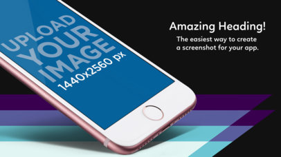 App Store Screenshot Maker Featuring the Lower Part of a Rose Gold iPhone Angled In Portrait Position a14108