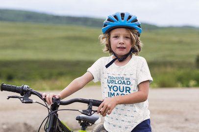 Heather T-Shirt Mockup Featuring a Boy With a Bike 39600-r-el2