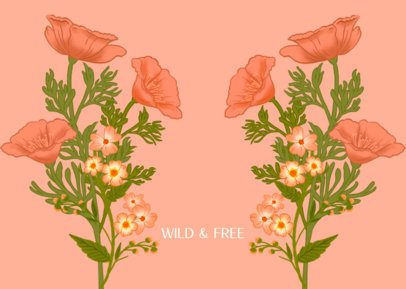 Illustrated Face Mask Design Template Featuring Wildflower Graphics 2883e