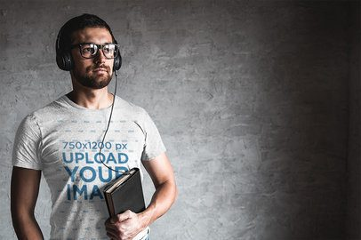 Mockup of a Man with a Geek Look Wearing a Heather T-Shirt 39872-r-el2
