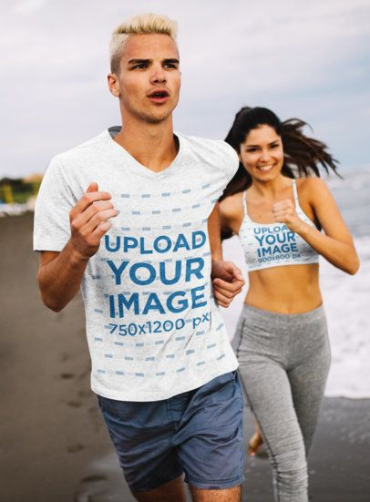 T-Shirt Mockup of a Young Man Jogging at the Beach with a Woman in a Sports Bra 41042-r-el2